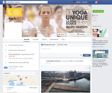 Capture Facebook Lole Cannes Aout 2015